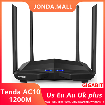 Tenda 10 1200Mbps Wireless 2.4 G+5G WiFi Rūteris, 1GHz CPU+128M DDR3 Gigabit Porti, 4*6dBi High Gain Antena, Smart APP Pārvaldīt